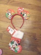"Disney Mickey Mouse 6-8"" Red & White Mini Christmas Stocking & Mickey Ears Nwt"