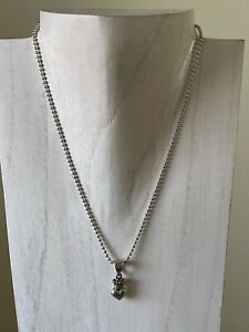 """King Baby 18"""" Long Sterling Silver Necklace with Crowned Heart Pendant"""