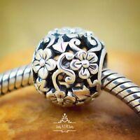 Genuine SOLID 925 Sterling Silver openwork charm bead daisy Flowers fit bracelet