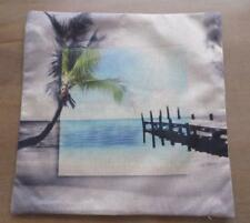 Jetty Palm Tree Sand Sea Beach Tropical Coastal Linen Look Cushion Cover 45cm
