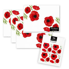 8pc Set of Red Poppy Floral Design Placemats and Coasters Home Dining Table Mats