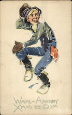 Christmas - Old Man in Snowball Fight c1915 Postcard