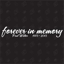 Paul Walker in Memory - R.I.P. 20cm Sticker , Fan Sticker