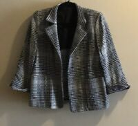 Linda Allard Ellen Tracy Tweed Blazer Women's Size 2 P Petites Open Front Jacket