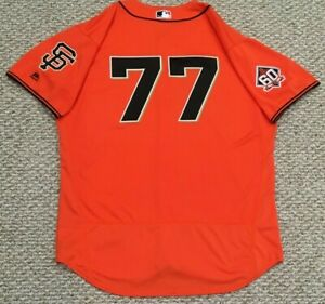 HERGES Size 50 #77 2018 SAN FRANCISCO GIANTS GAME JERSEY ISSUED ORANGE MLB HOLO