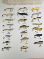 Lot Of 22 Vtg Fishing Lures Chug Bug Heddon Chugger Thin Fin Rapala Deep Runner