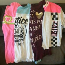 GIRLS JUSTICE LOT OF (4) SHIRTS TOPS GRAY PURPLE PINK BLUE SIZE 14/16 PLUS