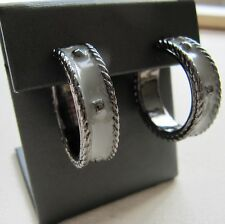 "Giles Brother Hoop Earring Enamel 1/4"" Gunmetal w/ Light Gray Twist Geo G&B LT-1"