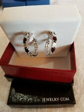 "Platinum-Plated Brass 1 1/2 ct Natural Garnet Hoop Earrings with Diamonds, .875"""