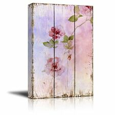Wall26 - Pink Watercolor Flowers on a Delicate Background - Canvas Art - 24x36