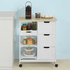SoBuy®Kitchen Trolley Cart with 3 Drawers&Storage Rack Rolling Island FKW79-W,UK