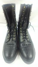 Men's Justin Boots 13 D Black Cowboy Leather Style 0595 (Broken pull loop)