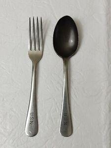 Set of 2 U.S.N  Military Mess US Navy Flatware ~ Fork ~ Spoon