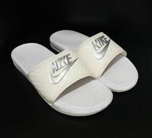 NIKE Womens Slides Benassi JDI Just Do It Size US 9 UK6.5 White Metallic Silver