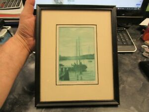 Antique Don Swann Original Etching A 24/300 Eventide Blue Tint Boat at Dock