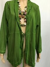 TS TAKING SHAPE SIZE M GREEN LONG SLEEVE CRINKLED MESH LIGHT CARDIGAN