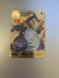 Pokemon - Shiny Star V Charizard VMAX CUSTOM GOLD Metal Card