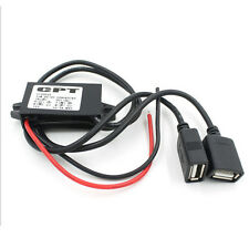 Car DC 12V to DC 5V 3A 15W Hard Wired Step Down Converter Dual USB Power Supply