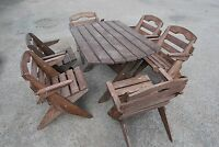 Beautiful Garden Furniture, Solid Wood, Folding Table And 6 Folding Chairs