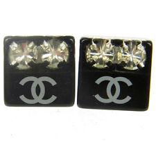 Authentic CHANEL Vintage CC Logos Rhinestone Pierce Black Accessories V11054