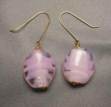 Drop EARRINGS - Italian Mottled Pink Art Glass Beads on 14K Gold Wire Hooks