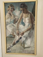 Vintage WPA Era Painting Of Ballerinas Signed And Dated '37