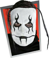 Stage Fright Goth Face Mask Black and White Painted Latex Half Mask with Hair