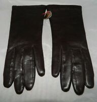 VTG NOS Brown Leather Tailored Gloves Acrylic Lined Size 6.5