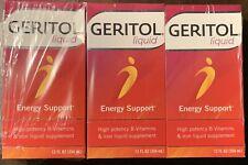 GERITOL LIQUID ENERGY SUPPORT HIGH POTENCY B VITAMINS & IRON 3 SEALED BOTTLES