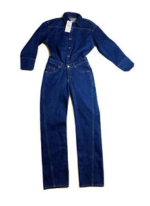 NWT Zara Woman Long Denim Jumpsuit Navy Blue Size S Small