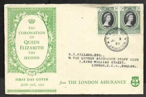 JAMAICA, 1953 QE11 CORONATION LONDON ASSURANCE FDC.