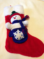 """Snowman Mitten Christmas Stocking Large Plush Soft Removeable Toy 23"""" Decoration"""