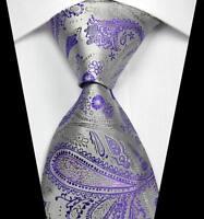 New Classic Patterns Purple Silver JACQUARD WOVEN 100% Silk Men's Tie Necktie