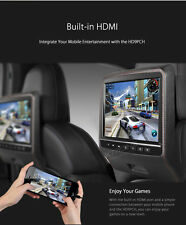 Black 2X HDMI Car Video Active Headrest Plug On LCD Monitor DVD Player Game USB