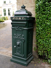 Large Vintage Green Aluminium Free Standing Mailing Post Box Wedding Metal Grand