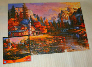 Home at Last Reflections Jigsaw Puzzle 750 MISSING 1 Mountain Cabin Foil Accent