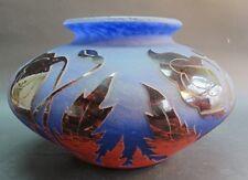 "RARE 9"" DEGUE BLUE & ORANGE FRENCH ART DECO GLASS VASE  c. 1920s  antique"