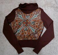 ETRO Paisley Silk Wool Combo Knitted Turtleneck Sweater Women Sz 42 MAGLIA Brown