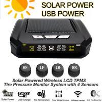 Solar Wireless Car TPMS Tire Pressure Tyre Temperature Monitor System w/4 Sensor