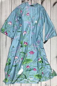 NWT Natori Lotus Garden Satin Zip Caftan Robe Kimono Aqua Floral Bird Print Sz M