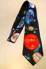 All The Planets Of The Solar System On A Black Neck Tie Free Shipping