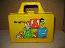 Vintage 1979 Fisher Price Play Lunch Pencil Box 638 carry tote case yellow part