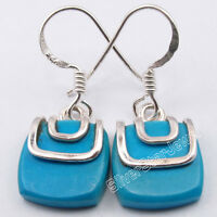 925 Pure Silver Beautiful TURQUOISE EXTRA ORDINARY FASHIONABLE Earrings 2.8 CM