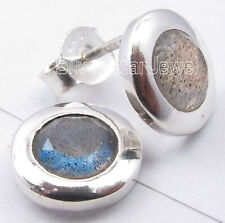 Studs Earrings 1.0 Cm Brand New 925 Sterling Silver Blue Fire Labradorite Little