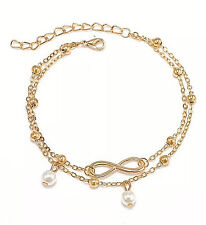 NEW WOMEN'S GOLD INFINITY SYMBOL AND FAUX PEARL DOUBLE CHAIN ANKLE BRACELET