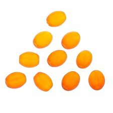 Transparent Frosted Orange Oval Glass Bead 12x10mm Pack of 10 (A100/3)