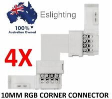 4X RGB CORNER CONNECTION COLOUR LED STRIP LIGHT CONNECTOR 10MM JOINER JOINT