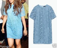 Zara Sky Blue guipure Lace crochet dress mini vestido punta size m 38 40 7691/799