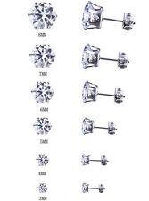 Women Men Round Black Cubic Zirconia CZ Stainless Steel Ear Studs Earrings 3-8mm