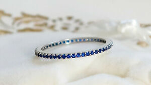 Sterling Silver 925 Blue Sapphire Full Eternity Ring,1mm dainty - All Sizes